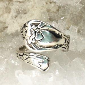 Vintage Sterling Silver Adjustable Spoon Ring 7.25